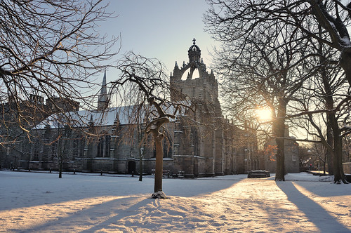 The low winter sun, Kings College, Old Aberdeen, Scotland