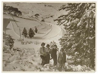 Skiing and snowfields, c. 1930s, by Sam Hood