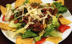 meal, salad, carnitas, food, dish, cuisine, caesar salad,