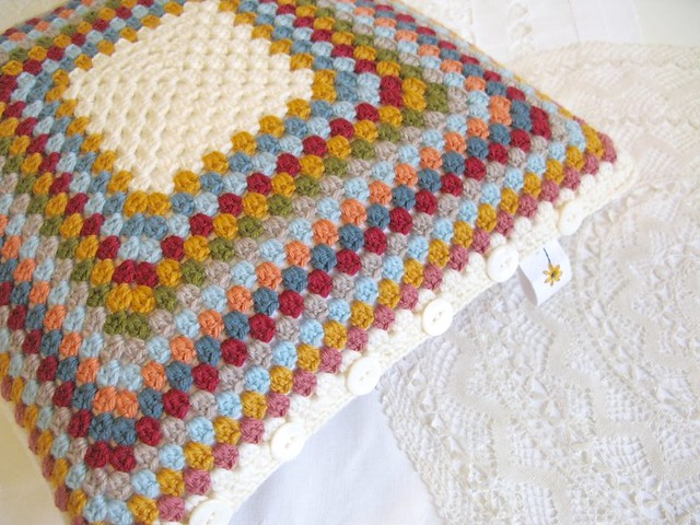 Mabel crochet 'granny' cushion by Emma Lamb