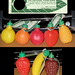 Tom's Foods - plastic candy-filled fruits - candy containers and tag scan - 1970's