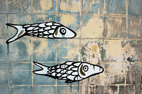 Two little fishes, modern, wall painting, mural, Belmar Hotel, South Mazatlan, Mexico by Wonderlane