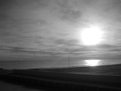 the sunrise in winter on the seaside
