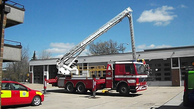 R331SPO West Sussex Fire & Rescue Service Volvo Angloco FL10 Bronto Skylift ALP Based at Horsham During Training