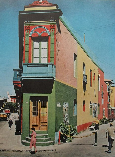 1960s colorful corner building multicolor painted facade for Architecture 1960
