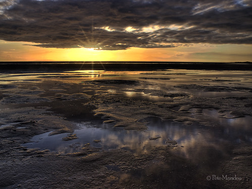 uk sunset reflection water redrocks wirral hoylake