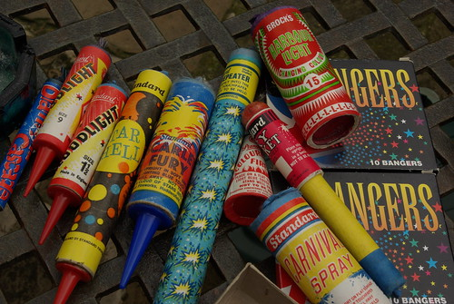 Antique Fireworks, bangers and roman candles