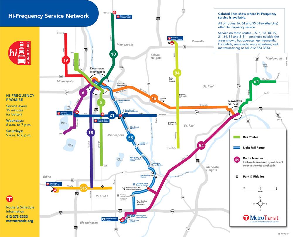 Metro Transit High Frequency Bus Map Minneapolis Richard Layman