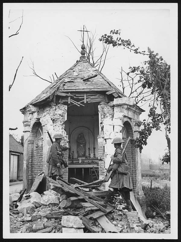 Shrine shattered by a German shell in the firing area