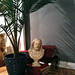 vintage jesus bust+palm plant+vintage encyclopedias+home decor