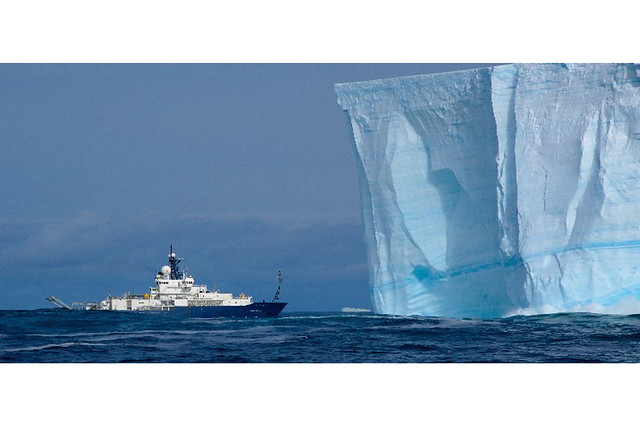 R/V Roger Revelle came nose-to-nose with an Antarctic iceberg, by NOAA Photo Library