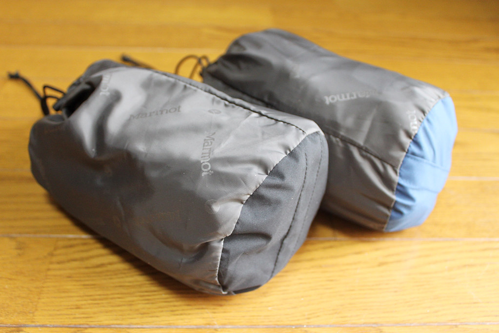Marmot Comodo Jacket and Pant 袋に収納したところ