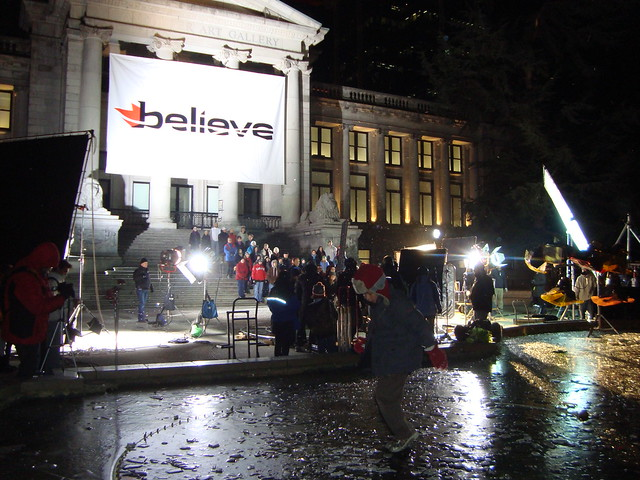 "CTV filming a ""Do you Believe?"" Commercial for Vancouver 2010 Olympics at Vancouver Art Gallery"