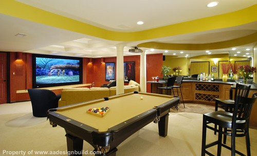 Custom design and remodeling ideas finished basement home theater wet - Home bar room ideas ...