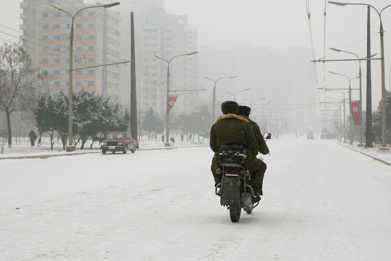 Taehak Street in snow, Pyongyang