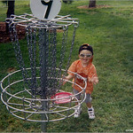 Gunnar Koz, age 2, drains a put on hole #9 at Ken Caryl July 2004.