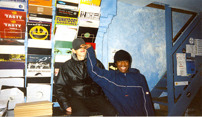 Benga and Skream in Big Apple records Croydon, circa 2001 - photo by John Kennedy
