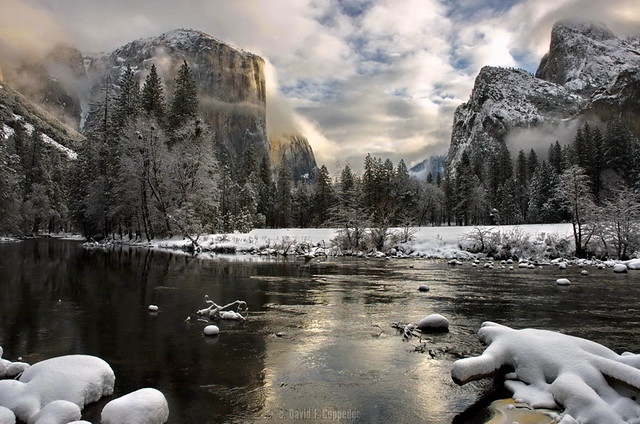 Yosemite Valley winter sunrise, color