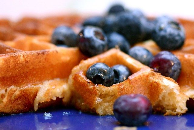 Sunday morning waffles with lemon and blueberries | Flickr - Photo ...