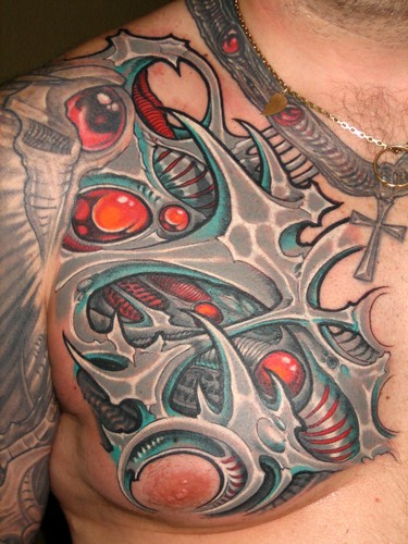 Flickriver analog tattooers 39 s photos tagged with ronearhart for Chest mural tattoos