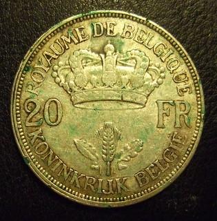 BELGIUM, LEOPOLD III 1934 ---20 FRANCS a