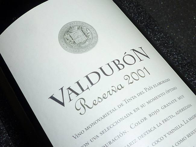 VINO VALDUBON RESERVA 2001 V
