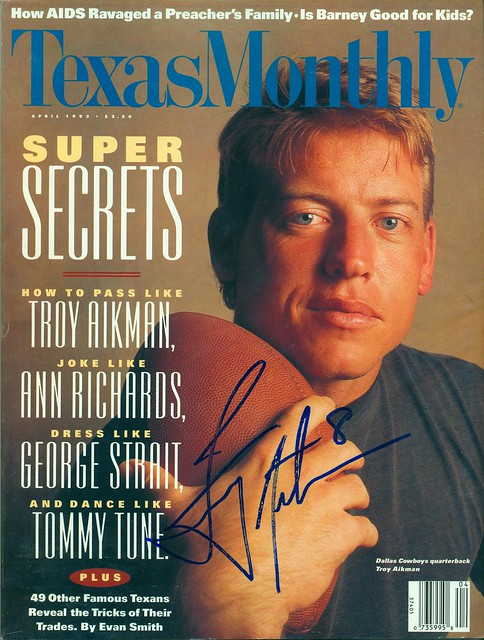 April 1993, Autographed Texas Monthly Magazine by Troy Aikman