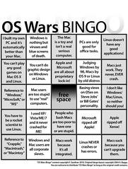 Operating System Wars Bingo