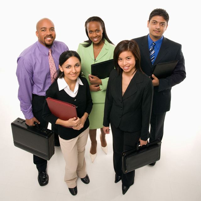 Business People Standing With Briefcases Flickr Photo