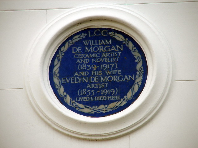 William De Morgan and Evelyn De Morgan blue plaque - William De Morgan ceramic artist and novelist (1839-1917) and his wife Evelyn De Morgan artist (1855-1919) lived and died here