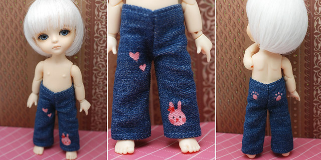 Latidoll yellow hand painted design jeans - bunny love