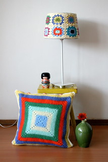 Crochet lamp and cushion