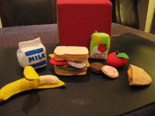 Felt food lunch set - all pieces.