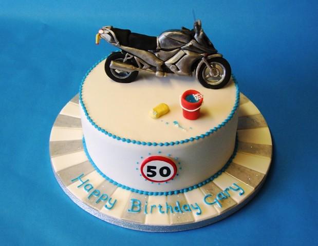Motorbike 50th Cake Birthday Chocolate Cake For A Friend