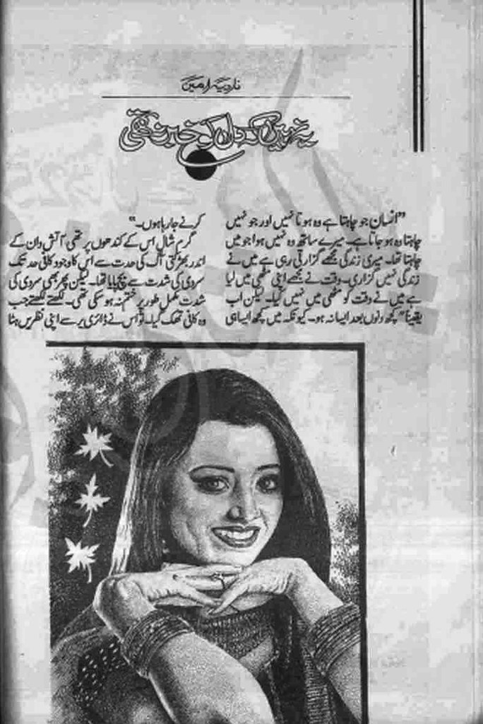 Yeh Nahi K Dil Ko Khabar Na Thi  is a very well written complex script novel which depicts normal emotions and behaviour of human like love hate greed power and fear, writen by Nadia Amin , Nadia Amin is a very famous and popular specialy among female readers