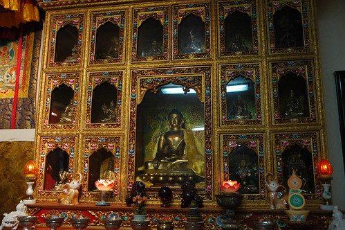 The old Buddhist shrine, downstairs, Sakya Monastery of Tibetan Buddhism, Greenwood neighborhood, Seattle, Washington, USA by Wonderlane