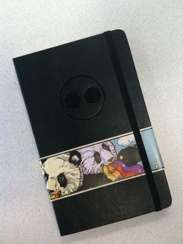 New Flickr Moleskines (with a rainbow-vomiting panda wrap).