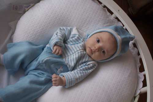 Lilah in Thomas' old baby outfit :-)