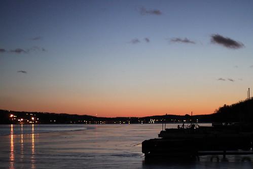 winter sunset lake ice docks reflections evening jefferson
