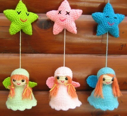 Free Crochet Pattern For Tiny Angels : Little Angels Mobile Crochet mobile made with pattern ...