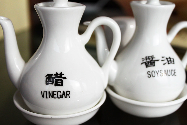 vinegar and soy sauce