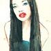 Red lips& black hair by rou bing