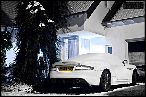 Aston Martin DBS in snow
