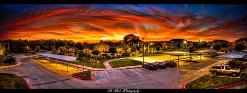 blue sunset sky panorama orange yellow clouds hdr