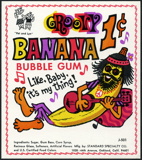 Candy Machine Vending Insert Card - Standard Specialty Co - Groovy Banana bubble gum 1-cent - 1960's 1970's