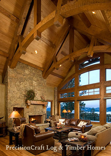 Timber Frame Home Great Room with a View | by PrecisionCraft Log & Timber Homes