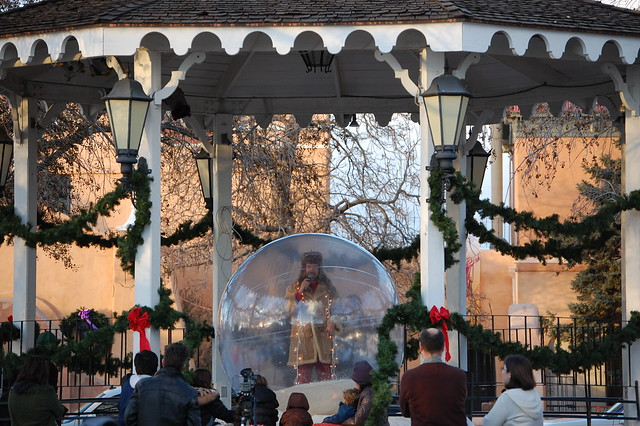 Man Singing in a Giant Snow Globe, Albuquerque