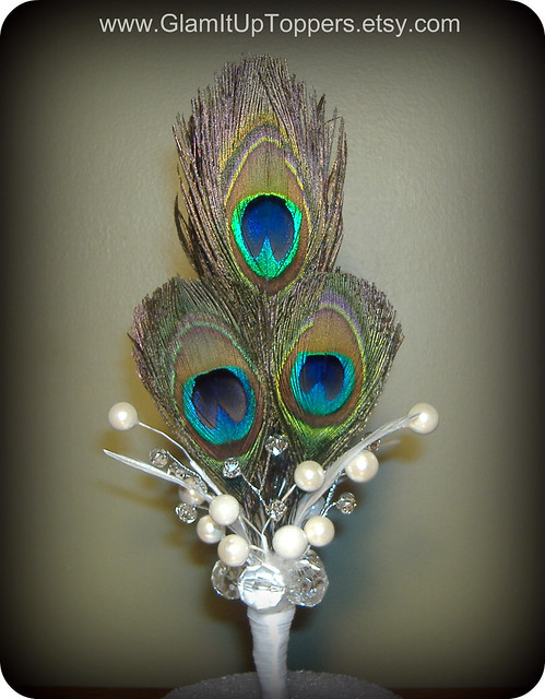Peacock Feather Wedding Cake Topper