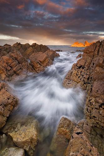 ocean light sea sky seascape nature water clouds sunrise island dawn coast nikon rocks glow tasmania tarkine d700 nikond700