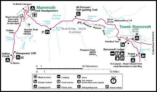 Tower/Roosevelt to Mammoth Hot Springs Route | Scenic spots … | Flickr